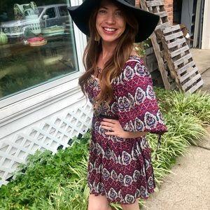 Dresses & Skirts - {Addie} boho gypsy purple and burgundy mini dress